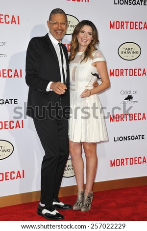 "LOS ANGELES, CA - JANUARY 21, 2015: Jeff Goldblum & Carly Steel at the Los Angeles premiere of their movie ""Mortdecai"" at the TCL Chinese Theatre, Hollywood.  - stock photo"