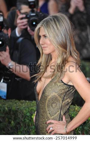 LOS ANGELES, CA - JANUARY 25, 2015: Jennifer Aniston at the 2015 Screen Actors Guild  Awards at the Shrine Auditorium.  - stock photo