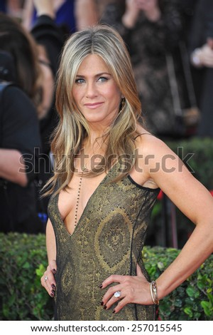 LOS ANGELES, CA - JANUARY 25, 2015: Jennifer Aniston at the 2015 Screen Actors Guild  Awards at the Shrine Auditorium.  - stock photo