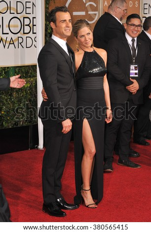 LOS ANGELES, CA - JANUARY 11, 2015: Jennifer Aniston & Justin Theroux at the 72nd Annual Golden Globe Awards at the Beverly Hilton Hotel, Beverly Hills. - stock photo