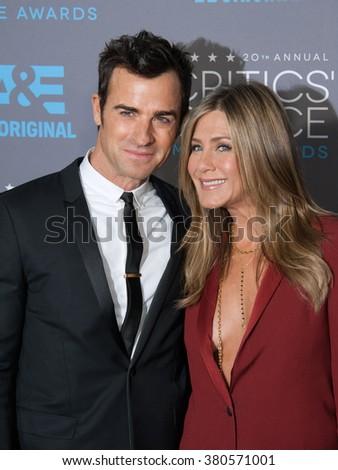 LOS ANGELES, CA - JANUARY 15, 2015: Jennifer Aniston & Justin Theroux at the 20th Annual Critics' Choice Movie Awards at the Hollywood Palladium. - stock photo