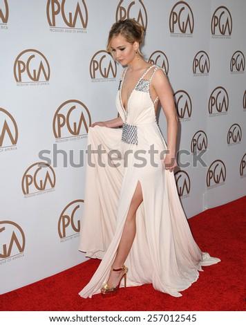 LOS ANGELES, CA - JANUARY 25, 2015: Jennifer Lawrence at the 26th Annual Producers Guild Awards at the Hyatt Regency Century Plaza Hotel.  - stock photo