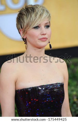 LOS ANGELES, CA - JANUARY 18, 2014: Jennifer Lawrence at the 20th Annual Screen Actors Guild Awards at the Shrine Auditorium.  - stock photo
