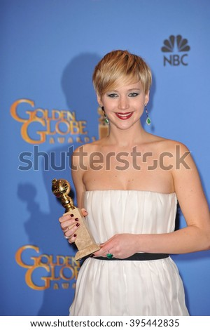 LOS ANGELES, CA - JANUARY 12, 2014: Jennifer Lawrence in the press room at the 71st Annual Golden Globe Awards