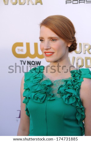 LOS ANGELES, CA - JANUARY 16, 2014: Jessica Chastain at the 19th Annual Critics' Choice Awards at The Barker Hangar, Santa Monica Airport.