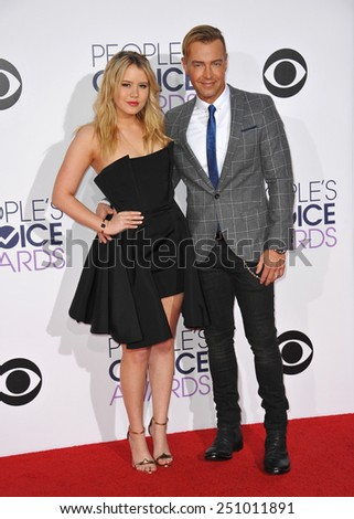 LOS ANGELES, CA - JANUARY 7, 2015: Joey Lawrence & Taylor Spreitler at the 2015 People's Choice  Awards at the Nokia Theatre L.A. Live downtown Los Angeles.  - stock photo