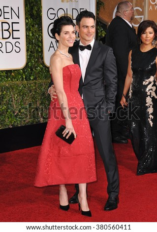 LOS ANGELES, CA - JANUARY 11, 2015: Julianna Margulies & Keith Lieberthal at the 72nd Annual Golden Globe Awards at the Beverly Hilton Hotel, Beverly Hills.