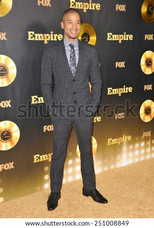 "LOS ANGELES, CA - JANUARY 6, 2015: Jussie Smollett at the premiere of Fox's new TV series ""Empire"" at the Cinerama Dome, Hollywood.  - stock photo"