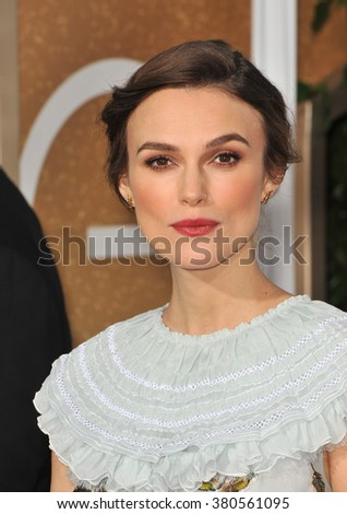 LOS ANGELES, CA - JANUARY 11, 2015: Keira Knightley at the 72nd Annual Golden Globe Awards at the Beverly Hilton Hotel, Beverly Hills.