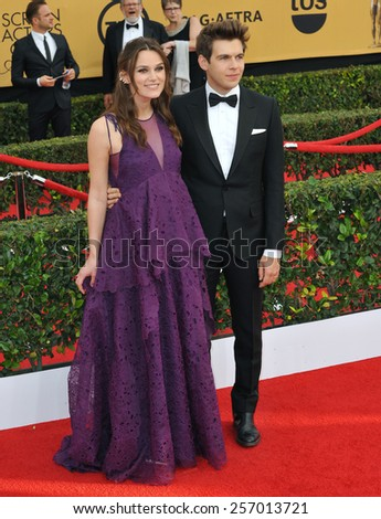 LOS ANGELES, CA - JANUARY 25, 2015: Keira Knightley & husband James Righton at the 2015 Screen Actors Guild  Awards at the Shrine Auditorium.  - stock photo