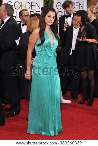 LOS ANGELES, CA - JANUARY 11, 2015: Lana Del Rey at the 72nd Annual Golden Globe Awards at the Beverly Hilton Hotel, Beverly Hills.