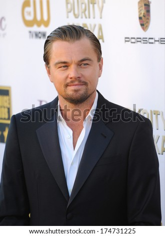 LOS ANGELES, CA - JANUARY 16, 2014: Leonardo DiCaprio at the 19th Annual Critics' Choice Awards at The Barker Hangar, Santa Monica Airport.  - stock photo