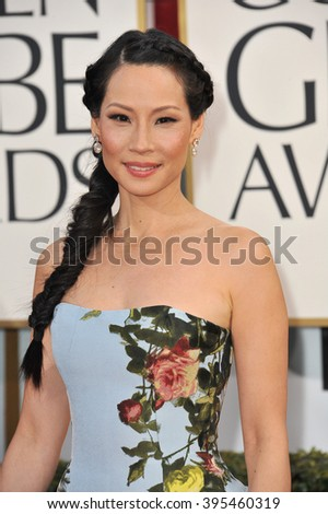 LOS ANGELES, CA - JANUARY 13, 2013: Lucy Liu at the 70th Golden Globe Awards at the Beverly Hilton Hotel. - stock photo