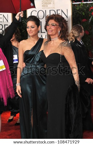 LOS ANGELES, CA - JANUARY 17, 2010: Marion Cotillard & Sophia Loren at the 67th Golden Globe Awards at the Beverly Hilton Hotel.