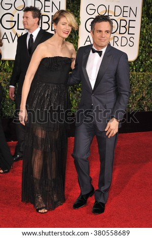 LOS ANGELES, CA - JANUARY 11, 2015: Mark Ruffalo& Sunrise Coigney at the 72nd Annual Golden Globe Awards at the Beverly Hilton Hotel, Beverly Hills.