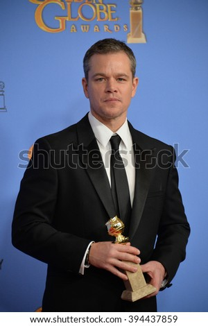 LOS ANGELES, CA - JANUARY 10, 2016: Matt Damon at the 73rd Annual Golden Globe Awards at the Beverly Hilton Hotel. - stock photo