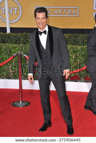 LOS ANGELES, CA - JANUARY 18, 2014: Matthew McConaughey at the 20th Annual Screen Actors Guild Awards at the Shrine Auditorium. - stock photo