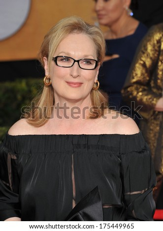 LOS ANGELES, CA - JANUARY 18, 2014: Meryl Streep at the 20th Annual Screen Actors Guild Awards at the Shrine Auditorium.  - stock photo