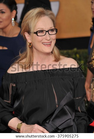 LOS ANGELES, CA - JANUARY 18, 2014: Meryl Streep at the 20th Annual Screen Actors Guild Awards at the Shrine Auditorium.