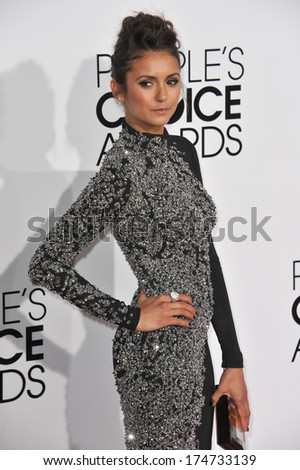 LOS ANGELES, CA - JANUARY 8, 2014: Nina Dobrev at the 2014 People's Choice Awards at the Nokia Theatre, LA Live.  - stock photo
