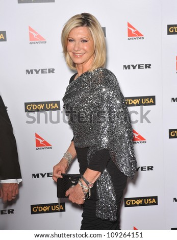 LOS ANGELES, CA - JANUARY 16, 2010: Olivia Newton-John at the 2010 G'Day USA Australia Week Black Tie Gala at the Grand Ballroom at Hollywood & Highland. - stock photo