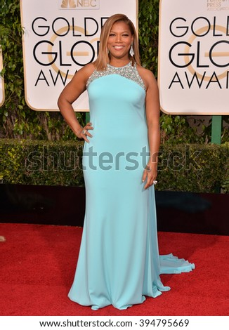 LOS ANGELES, CA - JANUARY 10, 2016: Queen Latifah at the 73rd Annual Golden Globe Awards at the Beverly Hilton Hotel.
