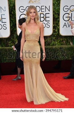 LOS ANGELES, CA - JANUARY 10, 2016: Rosie Huntington-Whiteley at the 73rd Annual Golden Globe Awards at the Beverly Hilton Hotel.