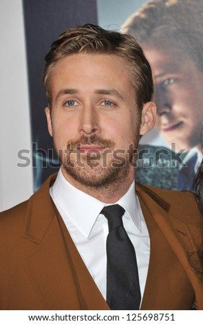 "LOS ANGELES, CA - JANUARY 7, 2013: Ryan Gosling at the world premiere of his movie ""Gangster Squad"" at Grauman's Chinese Theatre, Hollywood. - stock photo"