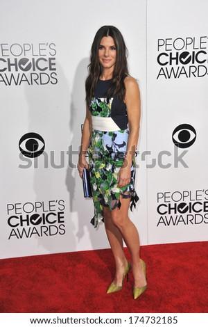 LOS ANGELES, CA - JANUARY 8, 2014: Sandra Bullock at the 2014 People's Choice Awards at the Nokia Theatre, LA Live.  - stock photo