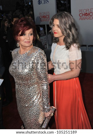 LOS ANGELES, CA - JANUARY 11, 2012: Sharon Osbourne & daughter Kelly Osbourne at the 2012 People's Choice Awards at the Nokia Theatre L.A. Live. January 11, 2012  Los Angeles, CA - stock photo