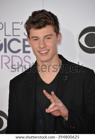 LOS ANGELES, CA - JANUARY 6, 2016: Shawn Mendes at the People's Choice Awards 2016