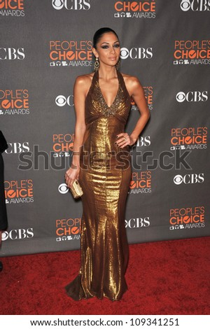 LOS ANGELES, CA - JANUARY 6, 2010: Singer Nicole Scherzinger at the 2010 People's Choice Awards at the Nokia Theatre L.A. Live in Los Angeles.