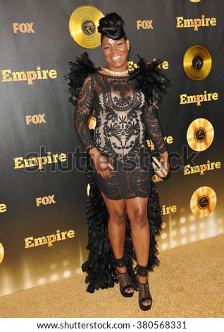 "LOS ANGELES, CA - JANUARY 6, 2015: Ta'Rhonda Jones at the premiere of Fox's new TV series ""Empire"" at the Cinerama Dome, Hollywood. - stock photo"