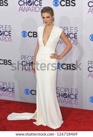 LOS ANGELES, CA - JANUARY 9, 2013: Taylor Swift at the People's Choice Awards 2013 at the Nokia Theatre L.A. Live. - stock photo