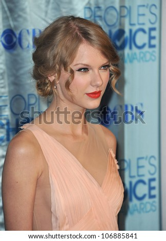 LOS ANGELES, CA - JANUARY 5, 2011: Taylor Swift at the 2011 Peoples' Choice Awards at the Nokia Theatre L.A. Live in downtown Los Angeles. January 5, 2011  Los Angeles, CA - stock photo