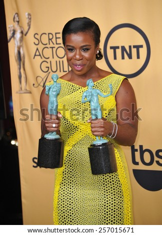 LOS ANGELES, CA - JANUARY 25, 2015: Uzo Aduba at the 2015 Screen Actors Guild  Awards at the Shrine Auditorium.  - stock photo