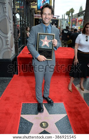 LOS ANGELES, CA - JULY 1, 2015: Actor Paul Rudd on Hollywood Blvd where he was honored with the 2,554th star on the Hollywood Walk of Fame. - stock photo