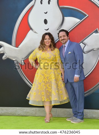 "LOS ANGELES, CA. July 9, 2016: Actress Melissa McCarthy & husband actor Ben Falcone at the Los Angeles premiere of ""Ghostbusters"" at the TCL Chinese Theatre, Hollywood."