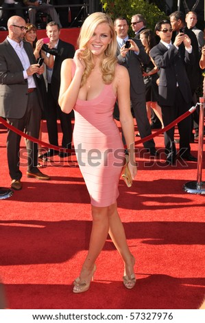 LOS ANGELES, CA - JULY 15: An actress and super model Brooklyn Decker, on the red carpet of the 2010 ESPY Awards at the Nokia Theater at LA Live, on July 15, 2010 in Los Angeles, CA - stock photo