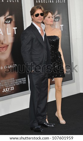 "LOS ANGELES, CA - JULY 19, 2010: Angelina Jolie & Brad Pitt at the premiere of her new movie ""Salt"" at Grauman's Chinese Theatre, Hollywood."