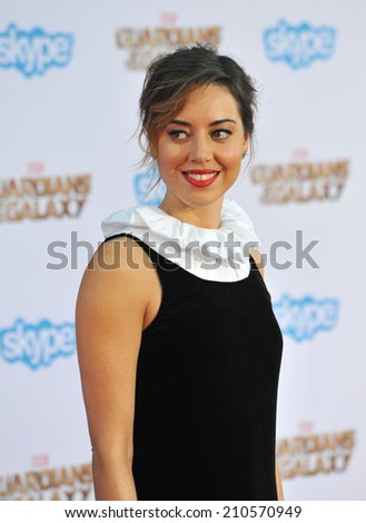 """LOS ANGELES, CA - JULY 21, 2014: Aubrey Plaza at the world premiere of """"Guardians of the Galaxy"""" at the El Capitan Theatre, Hollywood.  - stock photo"""