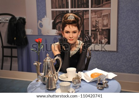 LOS ANGELES, CA - JULY 21, 2009: Audrey Hepburn waxwork figure - grand opening of Madame Tussauds Hollywood. - stock photo