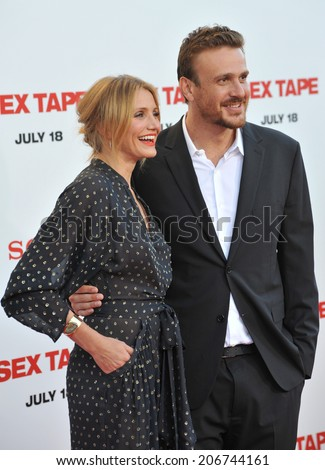 "LOS ANGELES, CA - JULY 10, 2014: Cameron Diaz & Jason Segel at the world premiere of their movie ""Sex Tape"" at the Regency Village Theatre, Westwood.  - stock photo"