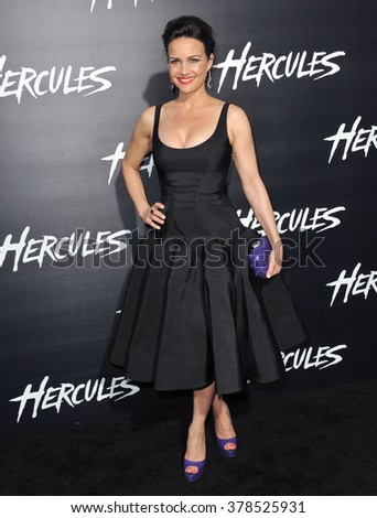 "LOS ANGELES, CA - JULY 23, 2014: Carla Gugino at the premiere of ""Hercules"" at the TCL Chinese Theatre, Hollywood."