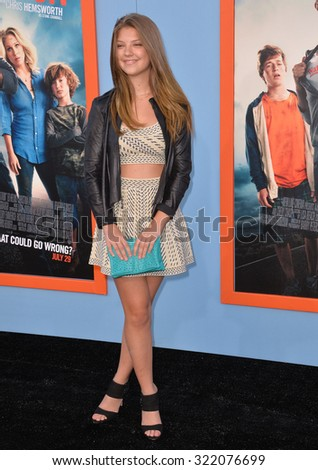 """LOS ANGELES, CA - JULY 27, 2015: Catherine Missal at the premiere of her movie """"Vacation"""" at the Regency Village Theatre, Westwood. - stock photo"""