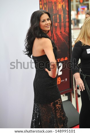 """LOS ANGELES, CA - JULY 11, 2013: Catherine Zeta-Jones at the Los Angeles premiere of her new movie """"Red 2"""" at the Westwood Village Theatre.  - stock photo"""
