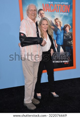 """LOS ANGELES, CA - JULY 27, 2015: Chevy Chase & Beverly D'Angelo at the premiere of their movie """"Vacation"""" at the Regency Village Theatre, Westwood. - stock photo"""