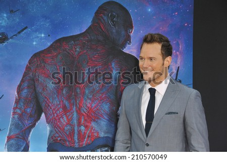 """LOS ANGELES, CA - JULY 21, 2014: Chris Pratt at the world premiere of his movie """"Guardians of the Galaxy"""" at the El Capitan Theatre, Hollywood.  - stock photo"""