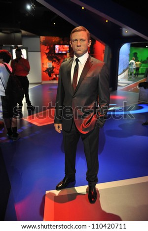 LOS ANGELES, CA - JULY 21, 2009: Daniel Craig waxwork figure - grand opening of Madame Tussauds Hollywood. - stock photo