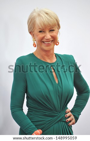 "LOS ANGELES, CA - JULY 11, 2013: Helen Mirren at the Los Angeles premiere of her new movie ""Red 2"" at the Westwood Village Theatre.  - stock photo"